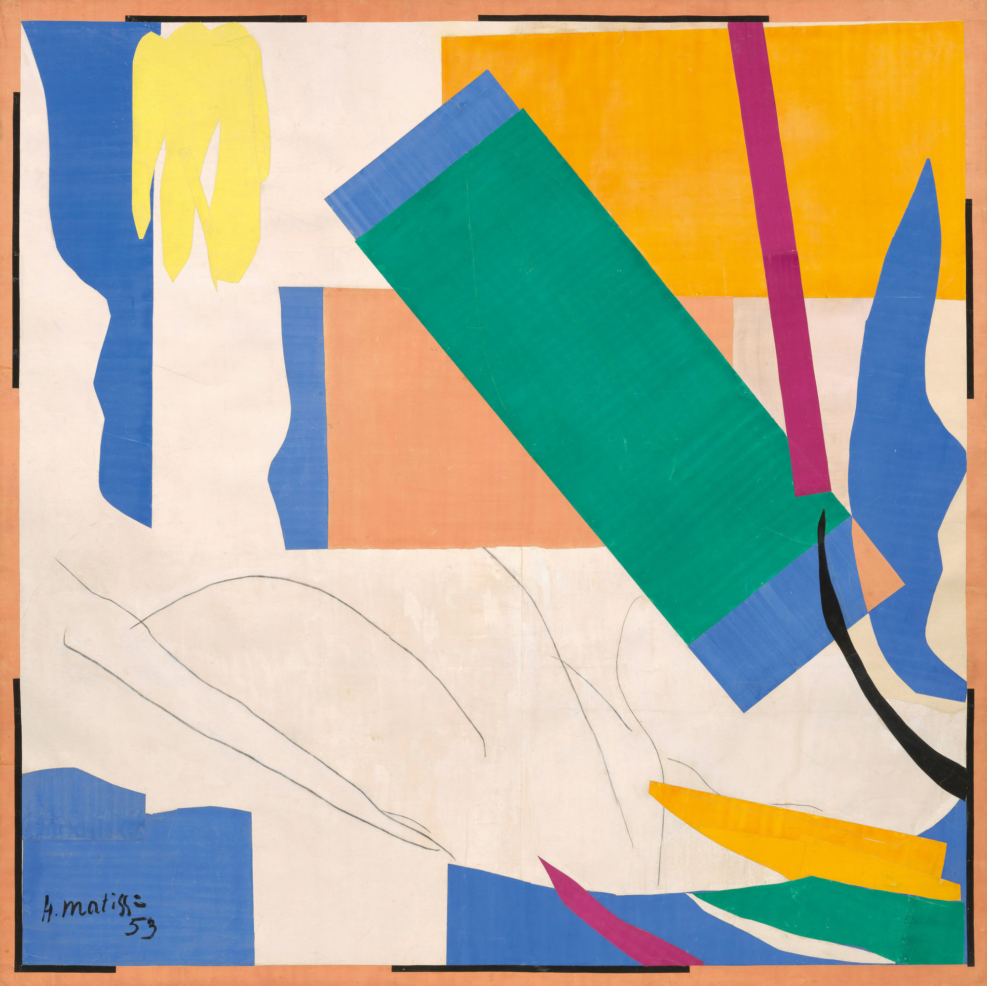 Henri Matisse (French, 1869–1954).  Memory of Oceania . Nice-Cimiez, Hôtel Régina, summer 1952–early 1953. Gouache on paper, cut and pasted, and charcoal on paper mounted on canvas, 9′ 4″ x 9′ 4 7/8″ (284.4 x 286.4 cm). The Museum of Modern Art, New York. Mrs. Simon Guggenheim Fund. © 2014 Succession H. Matisse, Paris/Artists Rights Society (ARS), New York