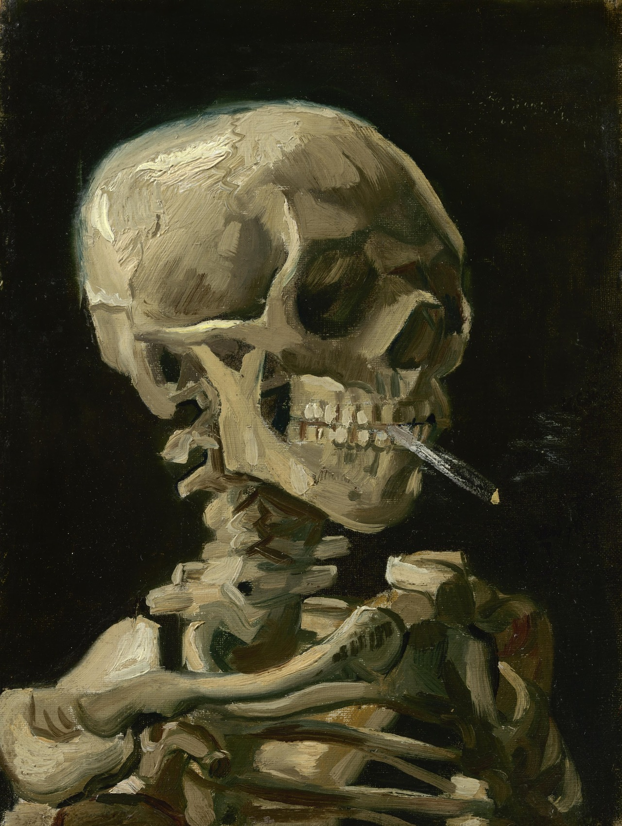 Vincent Van Gogh,  Head of a Skeleton with a Burning Cigarette , (1886).