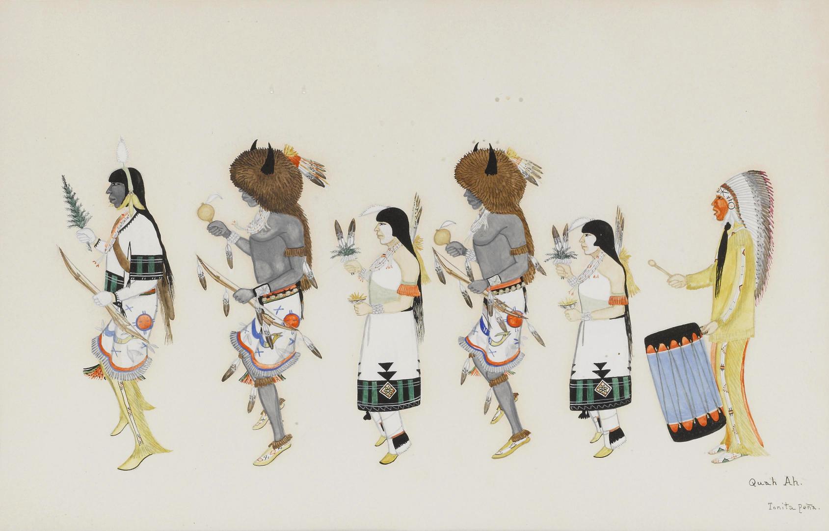 Tonita Peña,  Buffalo Dance group , early 20th century. Gouache on paper. ©Artnet.