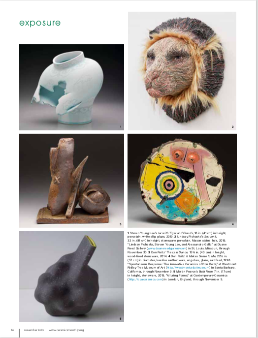 "My work is included in the ""Exposure"" section of  Ceramics Monthly ! Click  HERE  to read the entire piece.  Originally published in November 2019 issue of  Ceramics Monthly , page 16.  http://www.ceramicsmonthly.org  . Copyright, The American Ceramic Society. Reprinted with permission."