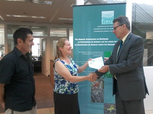 Karri Giles President -  Westernport and Peninsula Protection Council.  - presenting joint letter to Ramsar Officials in Switzerland.