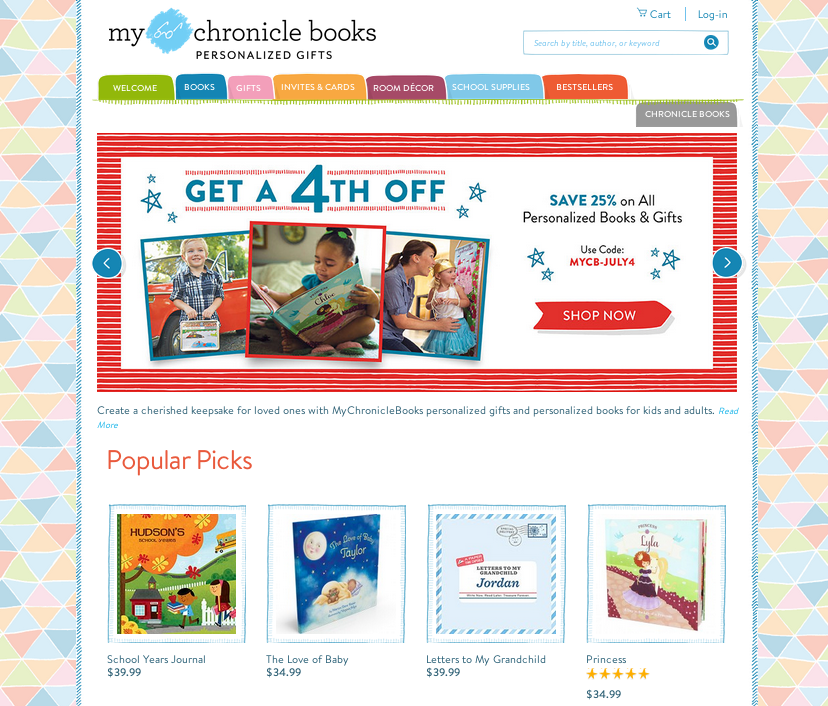 MyChronicleBooks homepage
