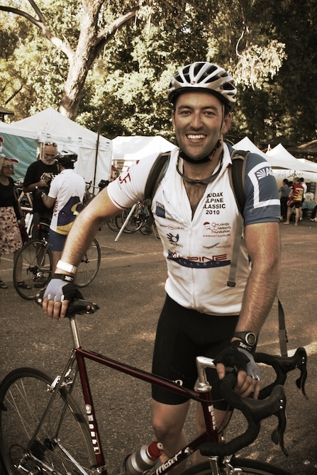 Lloyd after completing the Audax Alpine Classic Extreme, a 250km epic rid though the Victorian high country