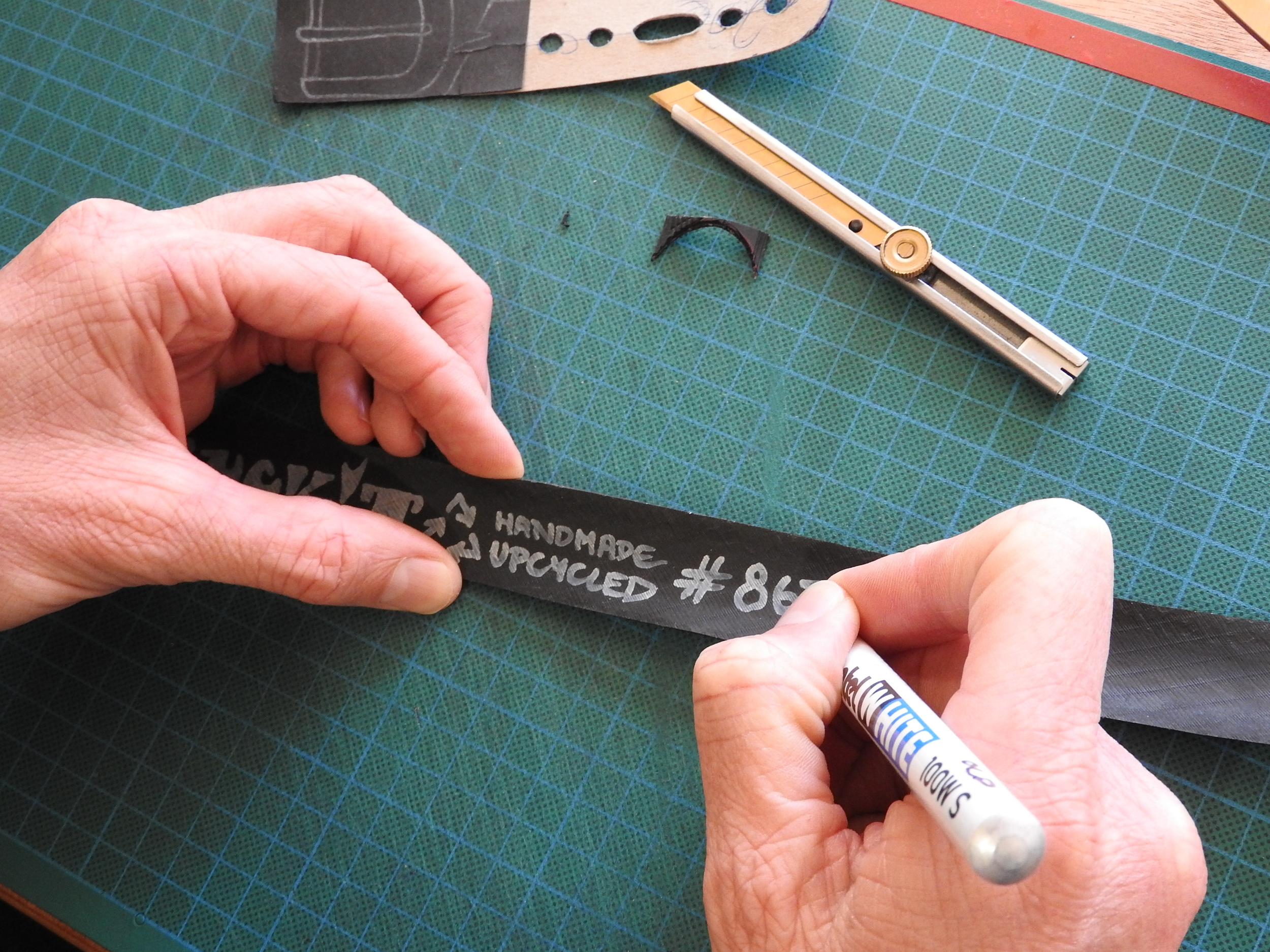 Every belt is labelled and numbered by hand.
