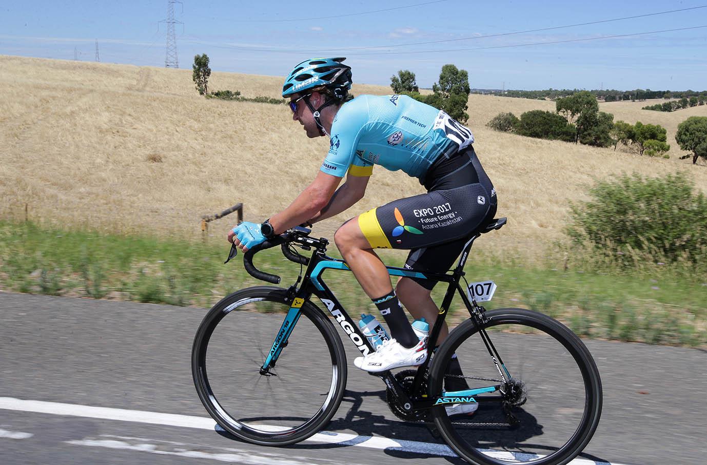 Astana rider Laurens De Vreese in his breakaway