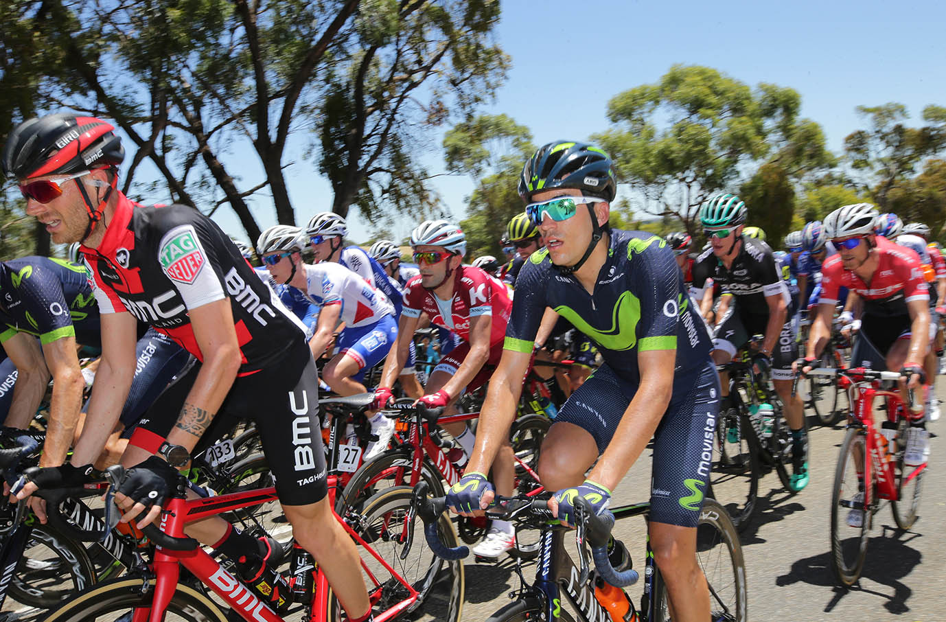 Riders feel the heat on a 43 degrees day on Hostworks stage 1
