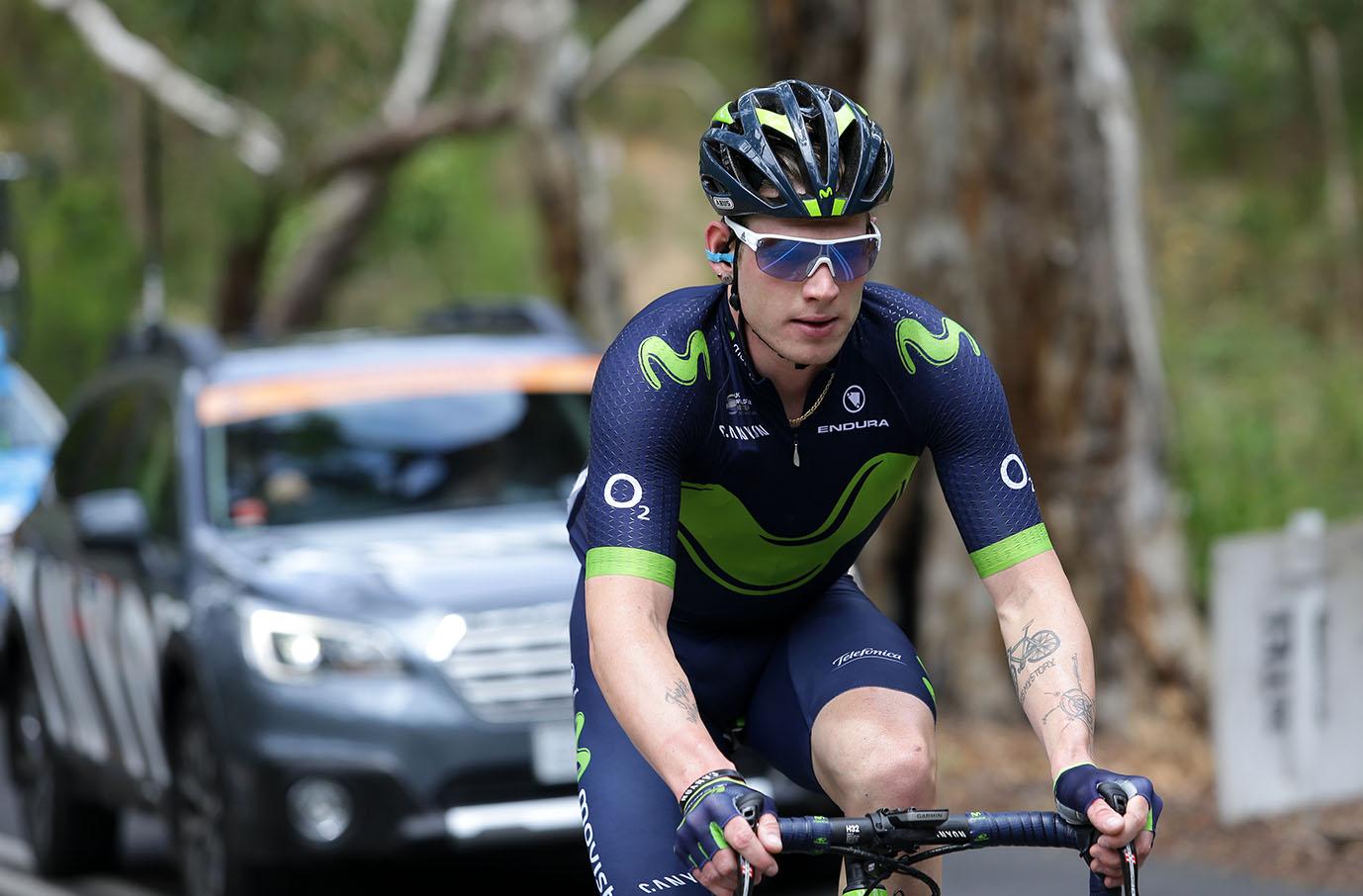 Breakaway rider Movistar team rider Jasha Sutterlin