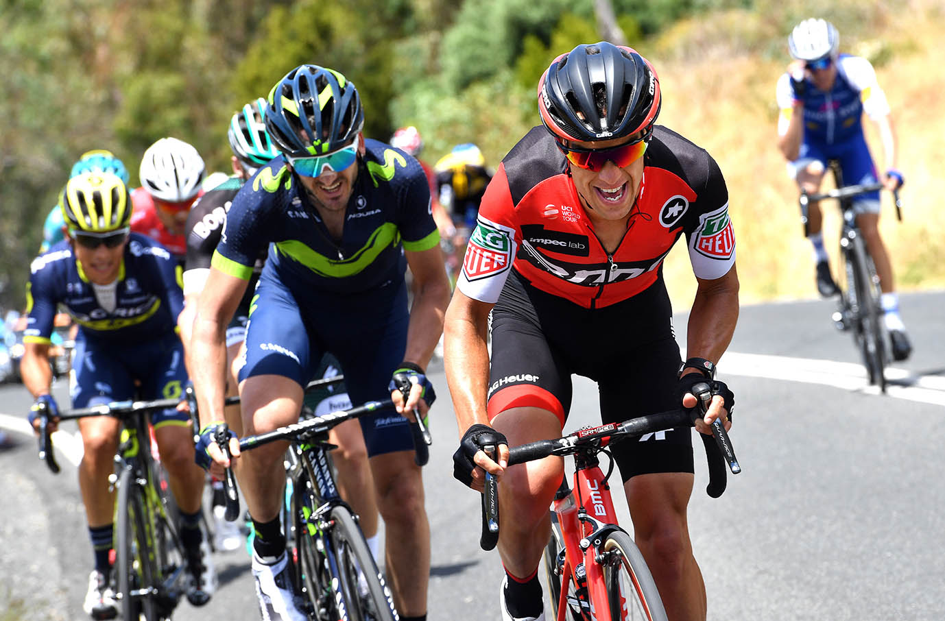 Richie Porte BMC wins the Staging Connections Stage 2 -Santos Tour Down Under and takes the leaders Ochre jersey