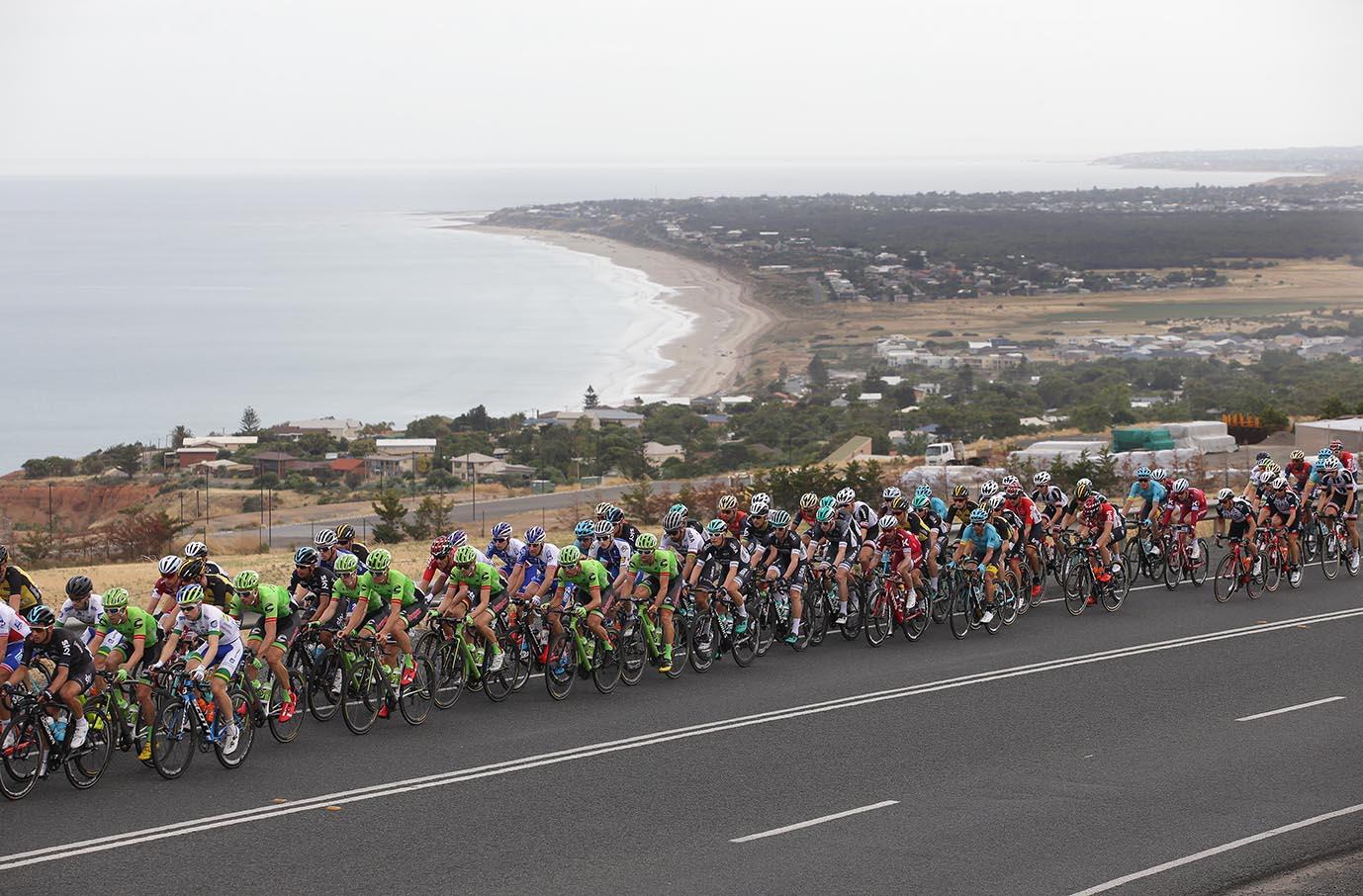 Riders climb Sellicks Hill overlooking Aldinga beach