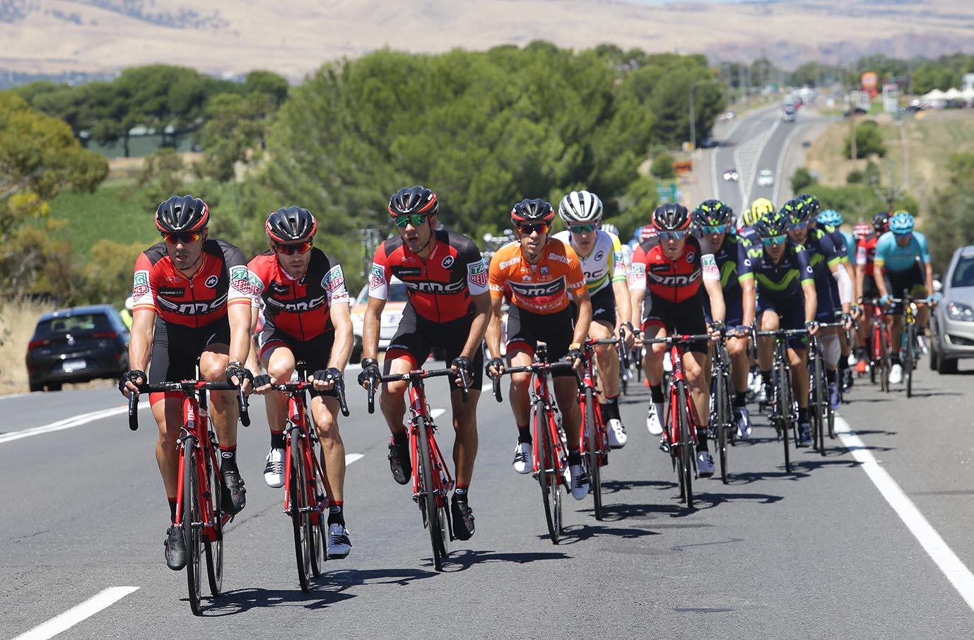BMC Racing leads the peloton during BikeExchange Stage 5