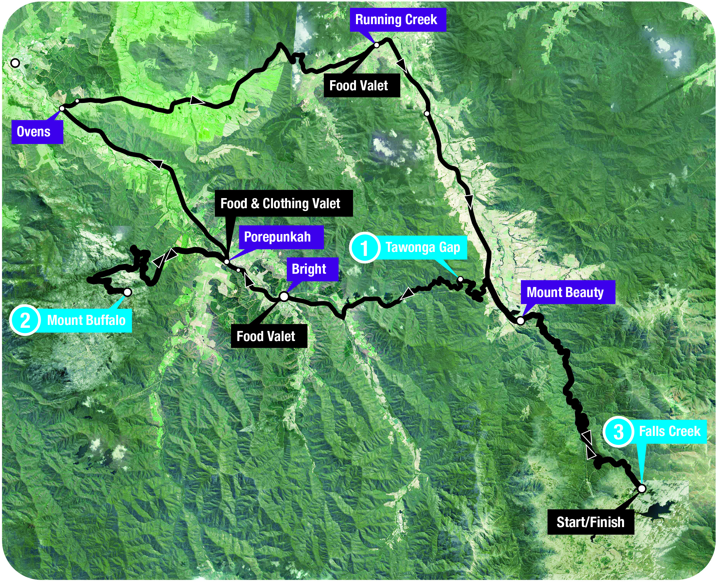 3 Peaks Ovens Vally route due to bushfires - still 235km and 4,000m+ vert and super hard.