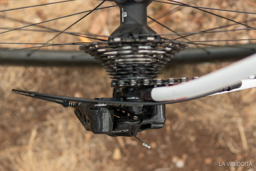 The Record 12 derailleur protrudes quite far from the frame