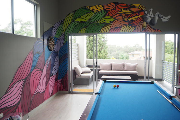 A bespoke mural for a games room in a private home.
