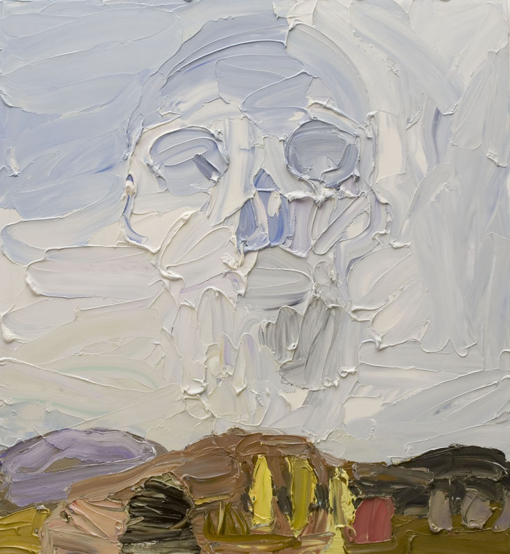 Ben Quilty took part in the Hill End residency, Hill End landscape 2006. oil on linen. 140 x 130cm. Collection of the Macquarie Group