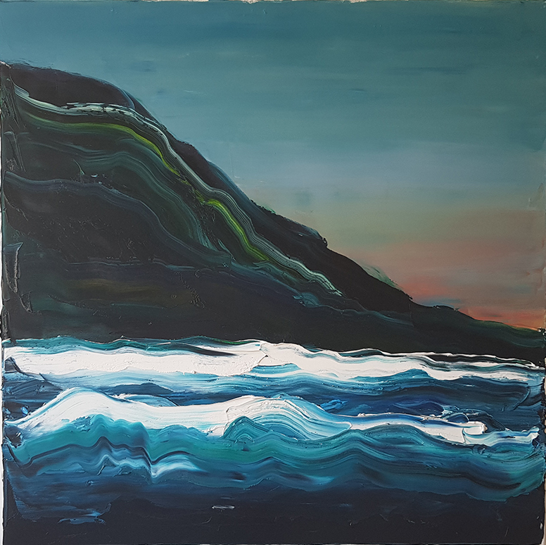 Bernard Greaves - Oil on canvas. Unframed.100cm x 100cmThe steep escarpment contrasts against the crashing waves along the Australian coastline. The last remaining sunlight lowers over the horizon.$1400