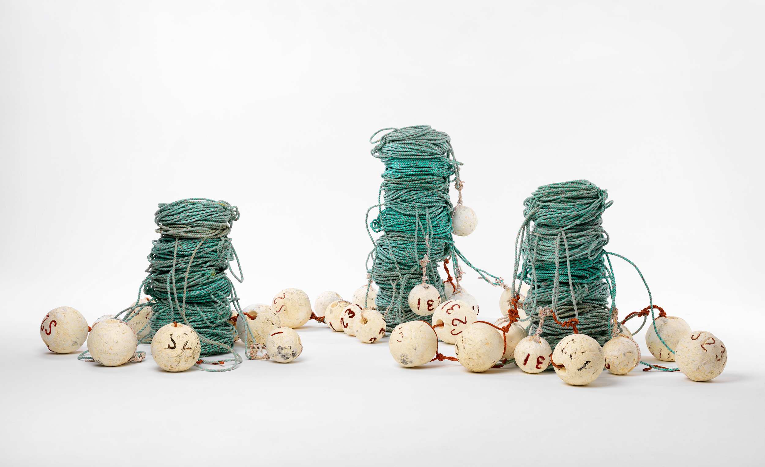 Ode to the fisherman   2016  Discarded lobster ropes & floats  120 x 300 x 250cm  photographer Grant Hancock