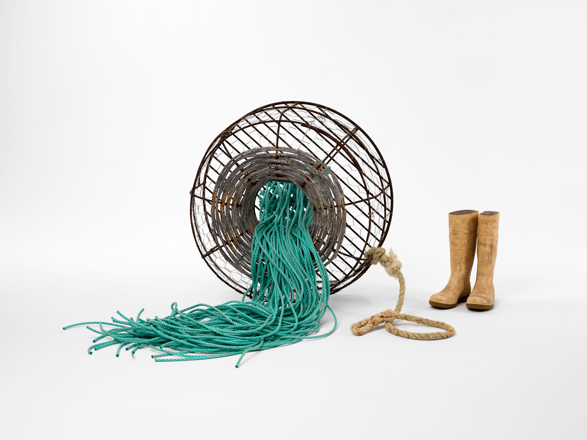 Transience   2016  Discarded steel, cane, wire netting, wire, rubber boots & rope  90 x 120 x 110cm  photographer Grant Hancock