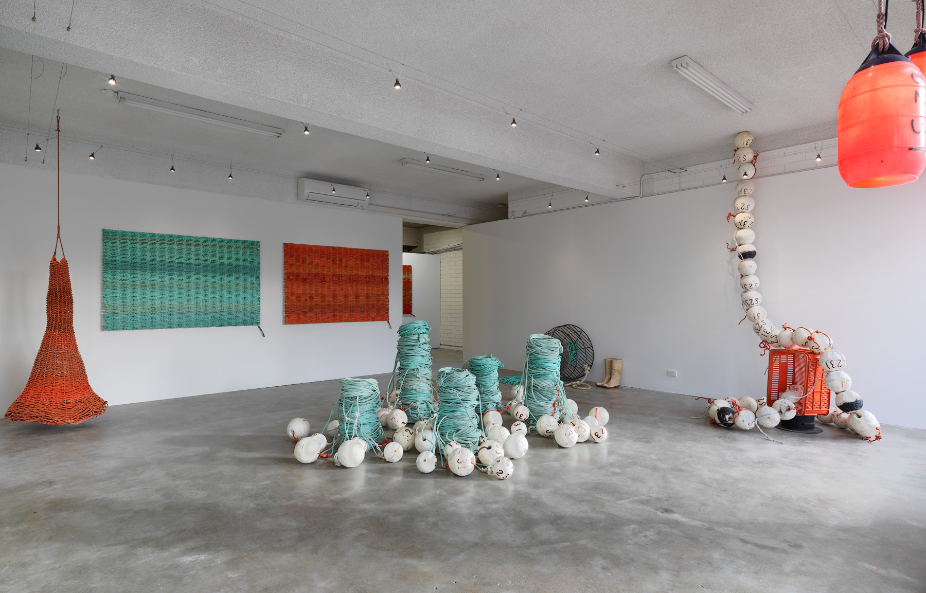 Ode to the fisherman  (installation shot)  2016  Discarded lobster ropes, floats, steel and rubber boots  photographer Grant Hancock