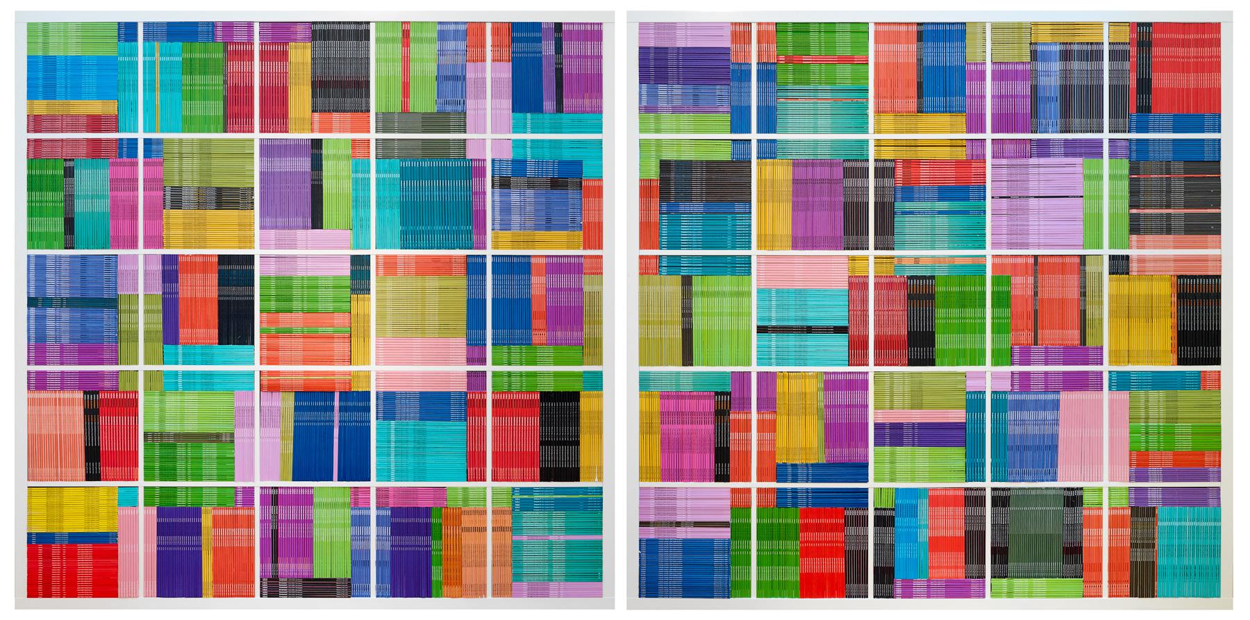 Complexity Theory   2018  182 x 182 x 39cm (each unit)  discarded artlink magazines, mass produced IKEA bookshelves  Photographer Grant Hancock