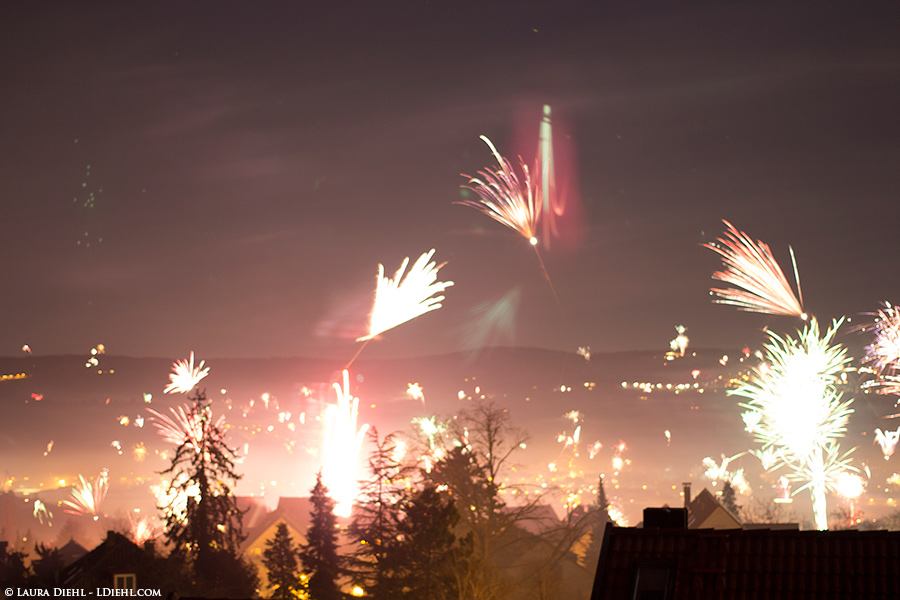 New Years Eve from our living room window.