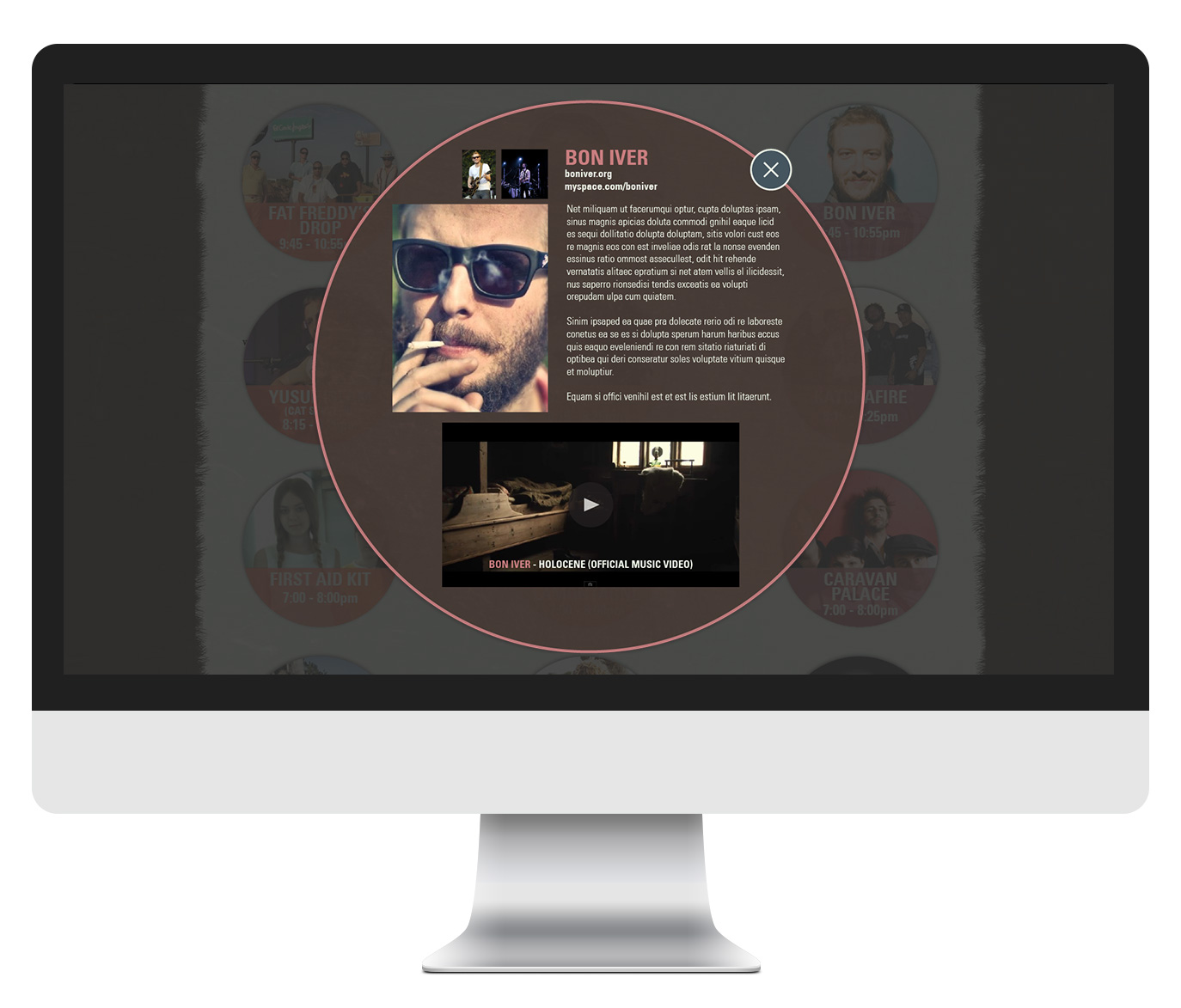 Music page with popup box
