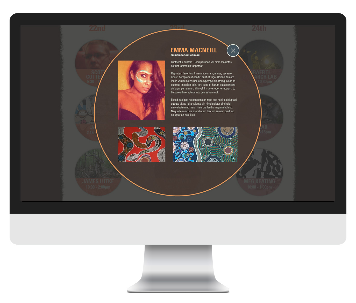 Arts page with popup box