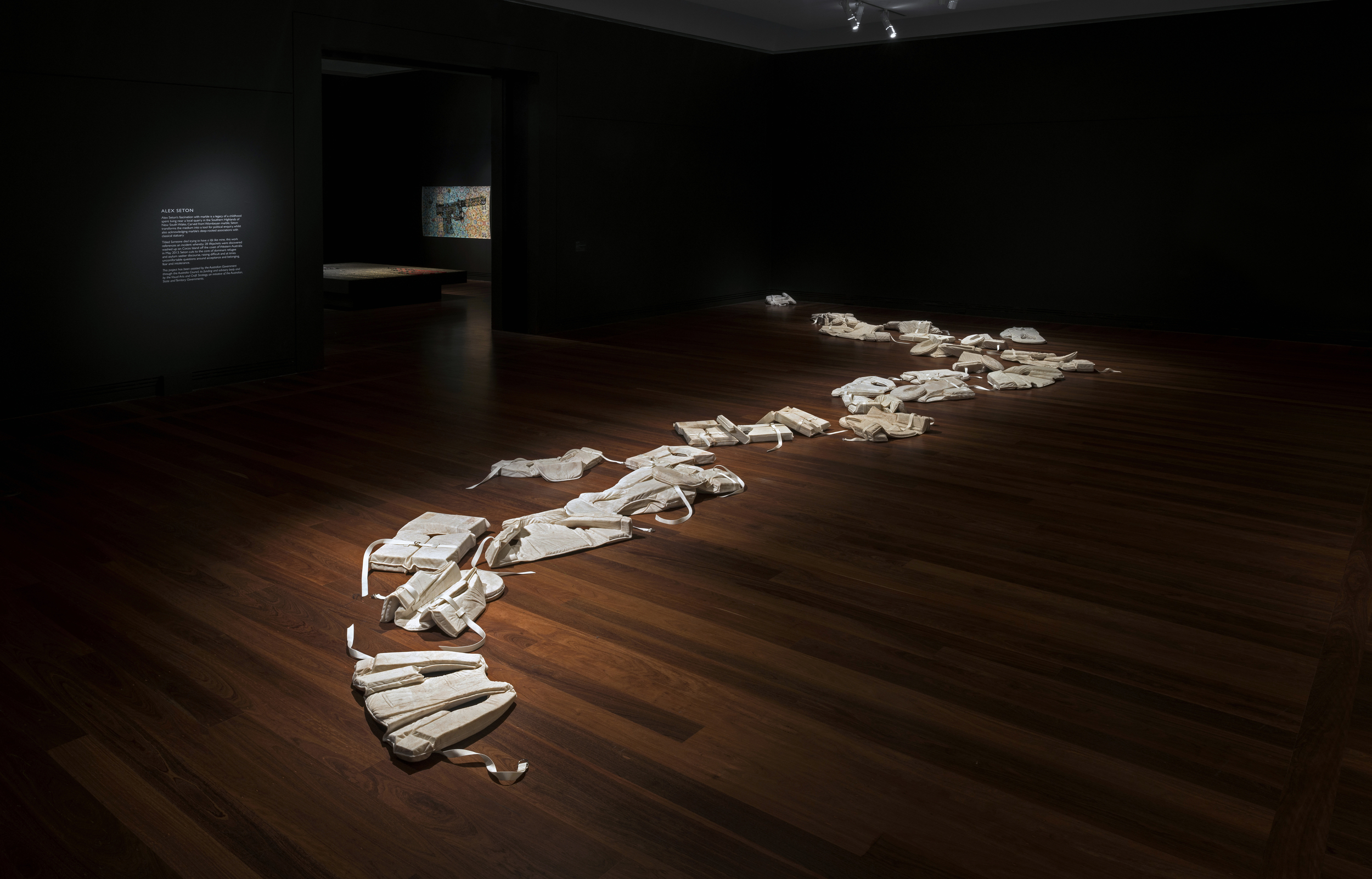 Someone died trying to have a life like mine   2014  Wombeyan marble, nylon webbing Dimensions variable
