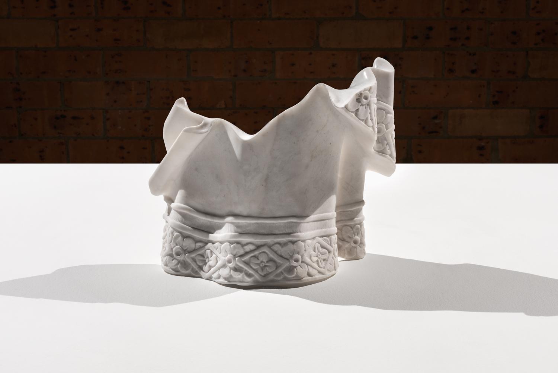 Hem of the effigy  2016 Imperial white marble 33 x 27 x 15 cm