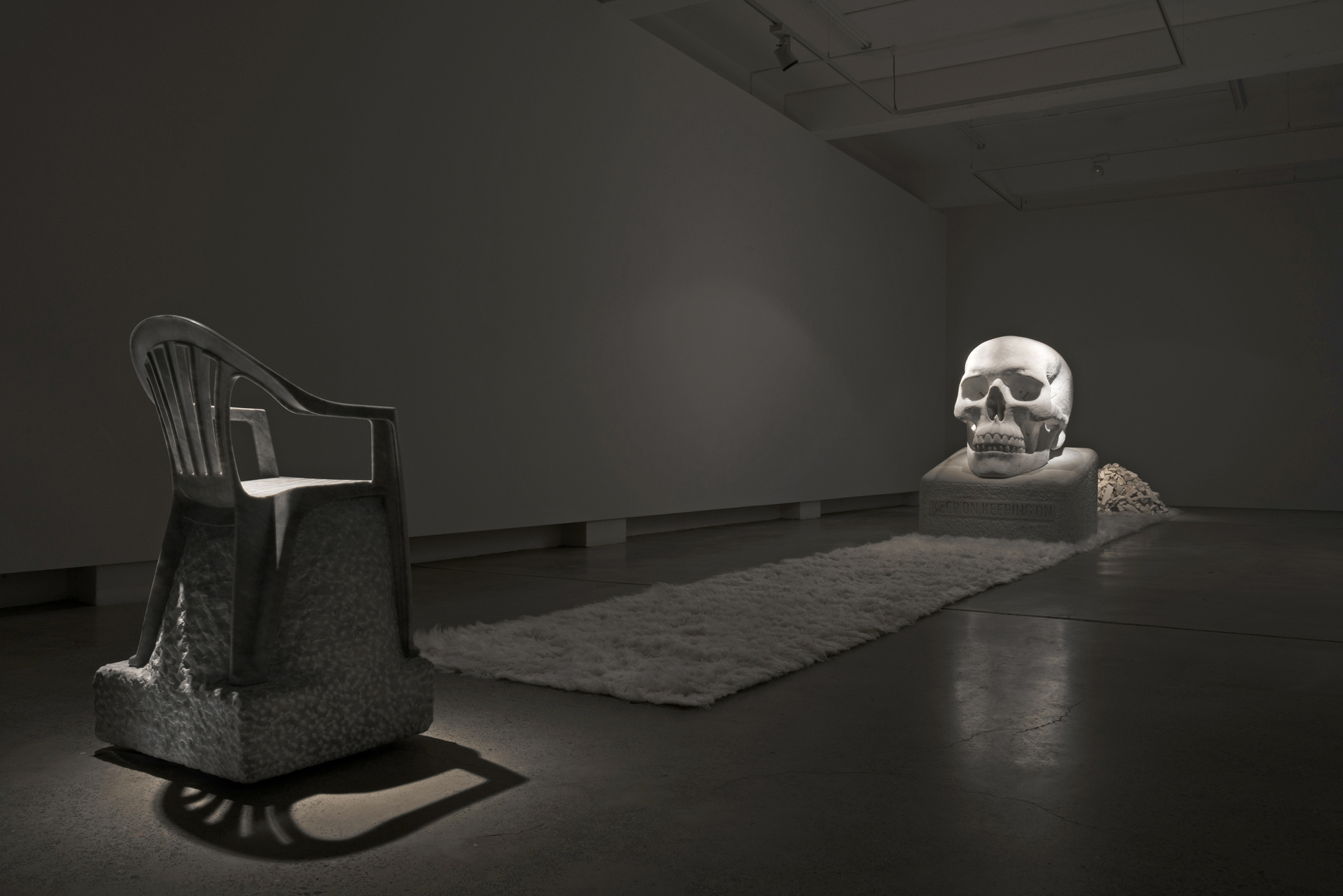 The Monobloc Throne 2017 Bianca Carrara 101 x 54 x 54 cm   Sometimes the Dead are More Alive than the Living 2017 Wombeyan marble, wool rugs and acrylic paint 163 x 120 x 115 cm  Photography: Laura Moore