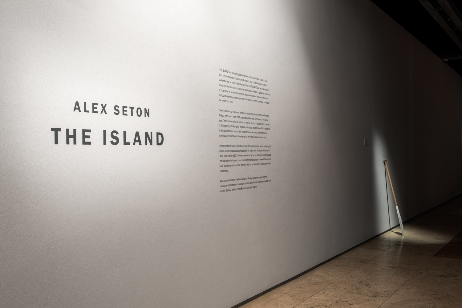 The Island   Newcastle Art Gallery 18 February - 7 May 2017   This solo exhibition contemplates and questions Australia's role in the asylum debate. 'The Island' as a concept can be a safe place of refuge, isolated geographically and ideologically from the humanitarian challenges the world is currently grappling with. Alternatively it can take on a more sinister tone as a place deserted for those who have survived a perilous sea journey only to be marooned, stateless, detained, looking to the horizon for help.  In Europe today, the mass movement of refugees and asylum seekers displaced by war and poverty is history repeated. Where once immigrants were embraced as a means to drive the health and economy of nations, today we turn inwards as the ideology of walls and fences become potent political capital. Seton transforms and manipulates his marble sculptures into emphatic motifs and metaphors of these current socio-political themes and narratives.  Photography: Mark Pokorny