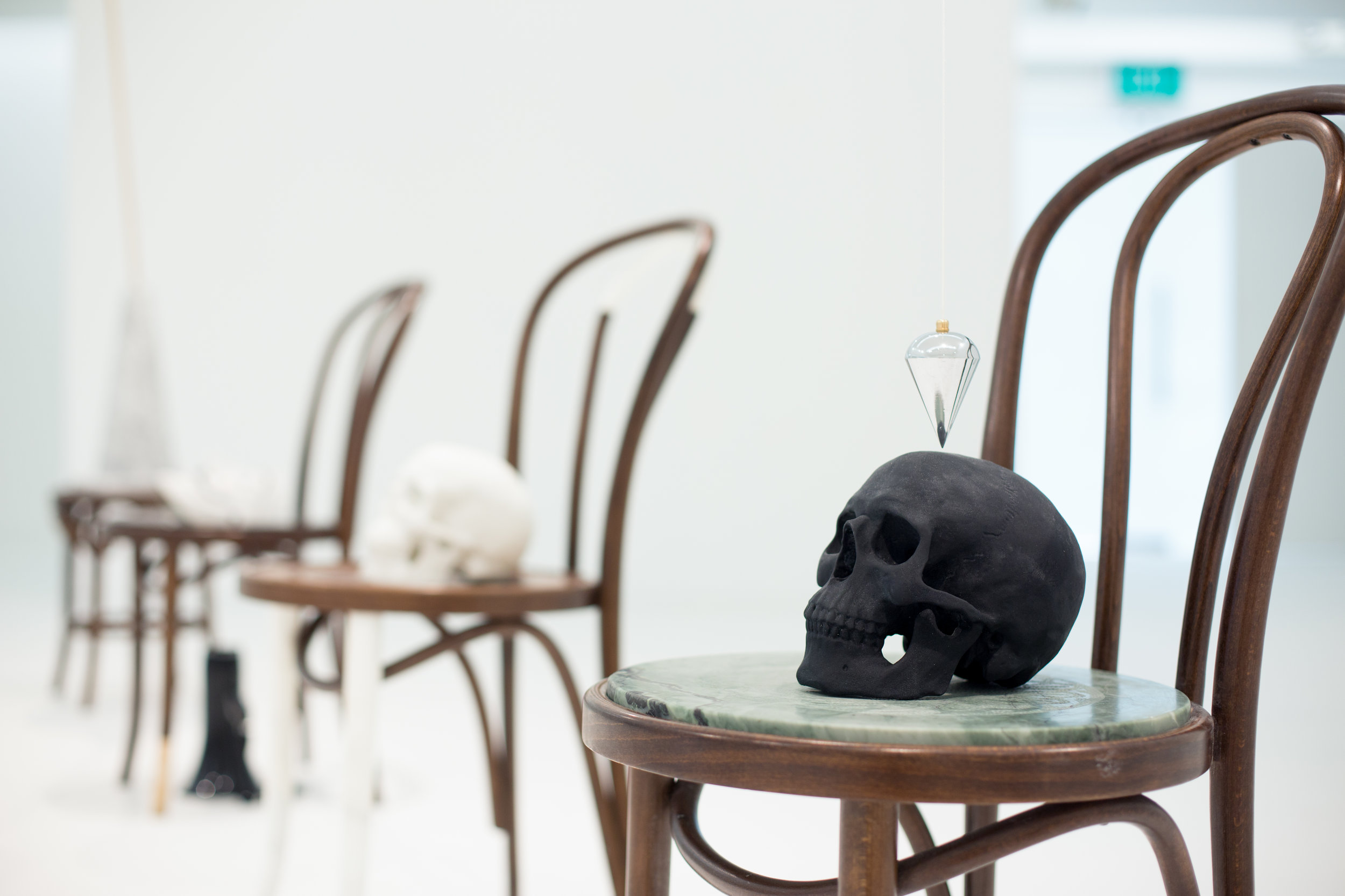 Golem Effect  2016 Fameg Bentwood chair, Pillsborough Green, Wombeyan, nylon digital print, steel and string 90 x 40 x 54 cm