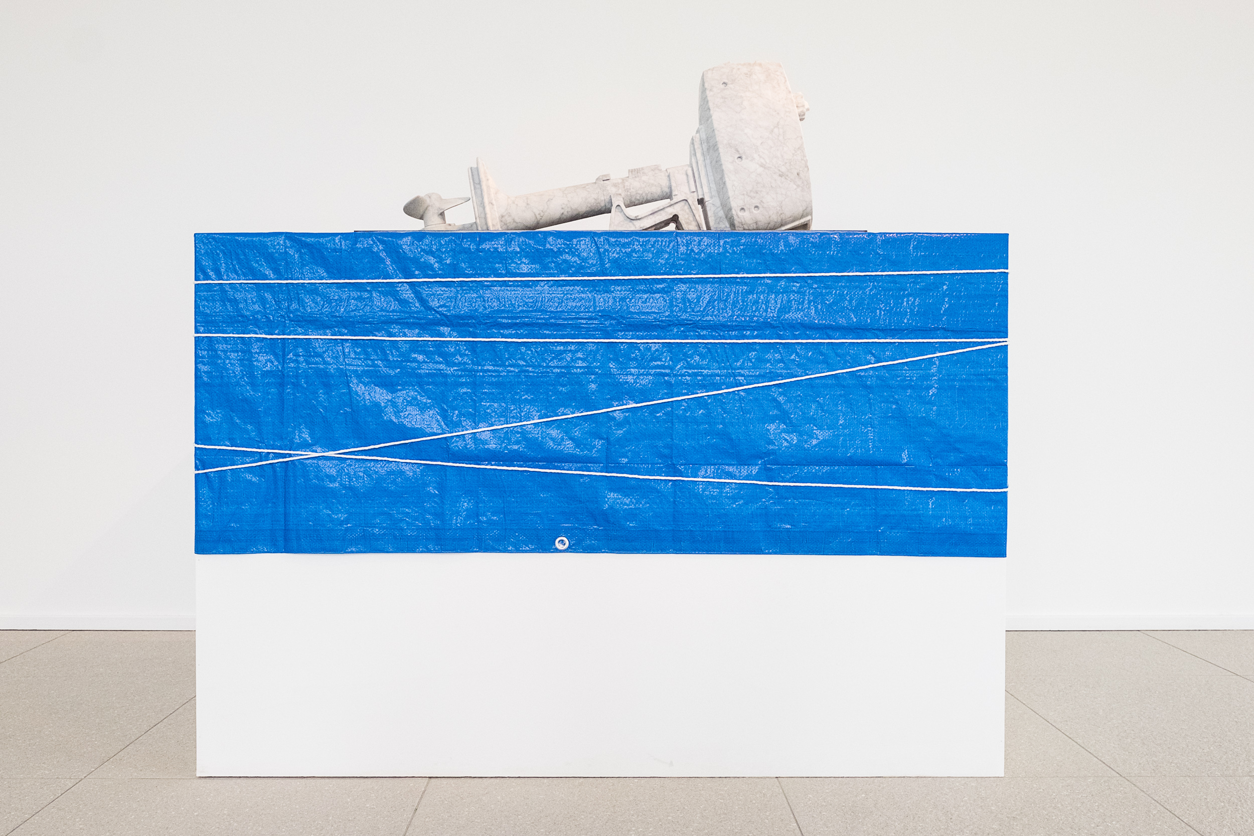 Oilstone 01: Transparent     2015 Bianco carrara, stainless steel, motor oil, plinth, tarp, rope 100 x 38 x 42 cm