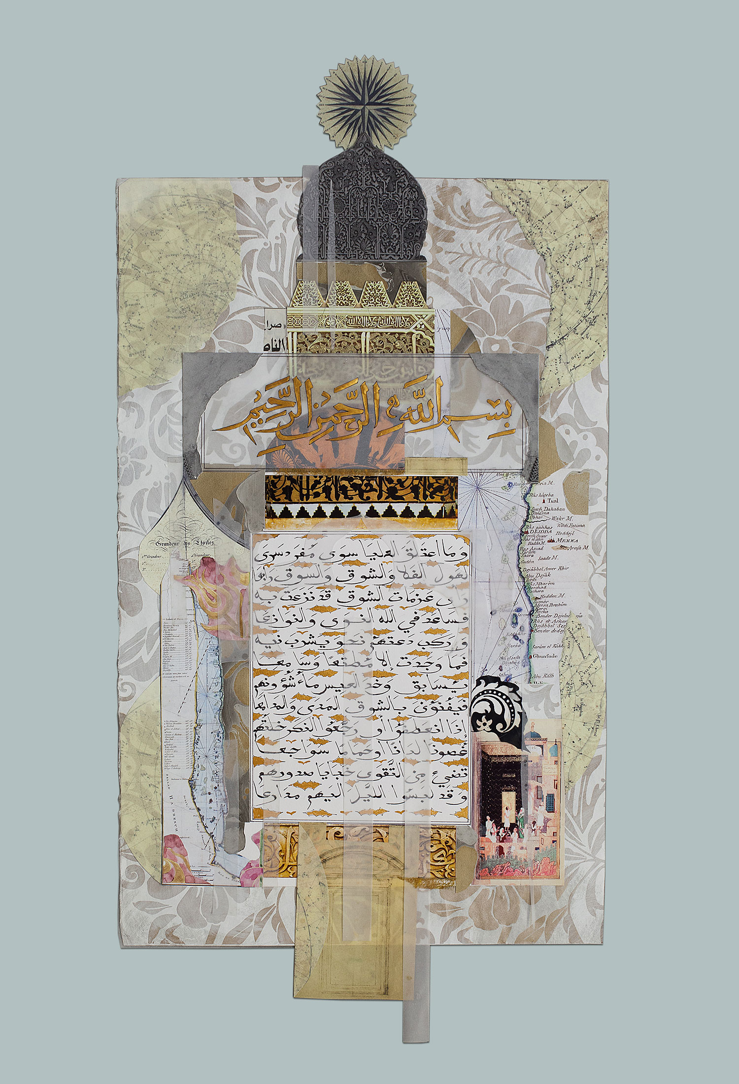 Pilgrimage I  Private Collection HRH The Prince of Wales Paper, stucco, Indian ink and gold paint on paper 100 x 55 cm 2013