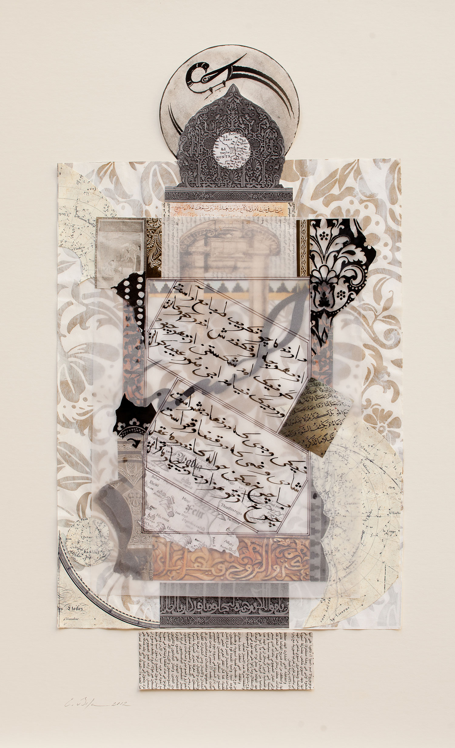 Monaa   Private collection New York, U.S.A.  Paper, stucco, Chinese ink and pencil on paper 41 x 67 cm 2012