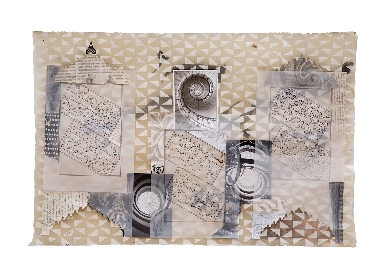 Spirals  Paper and Indian ink on waxed, hand made paper 77 x 52 cm 2011