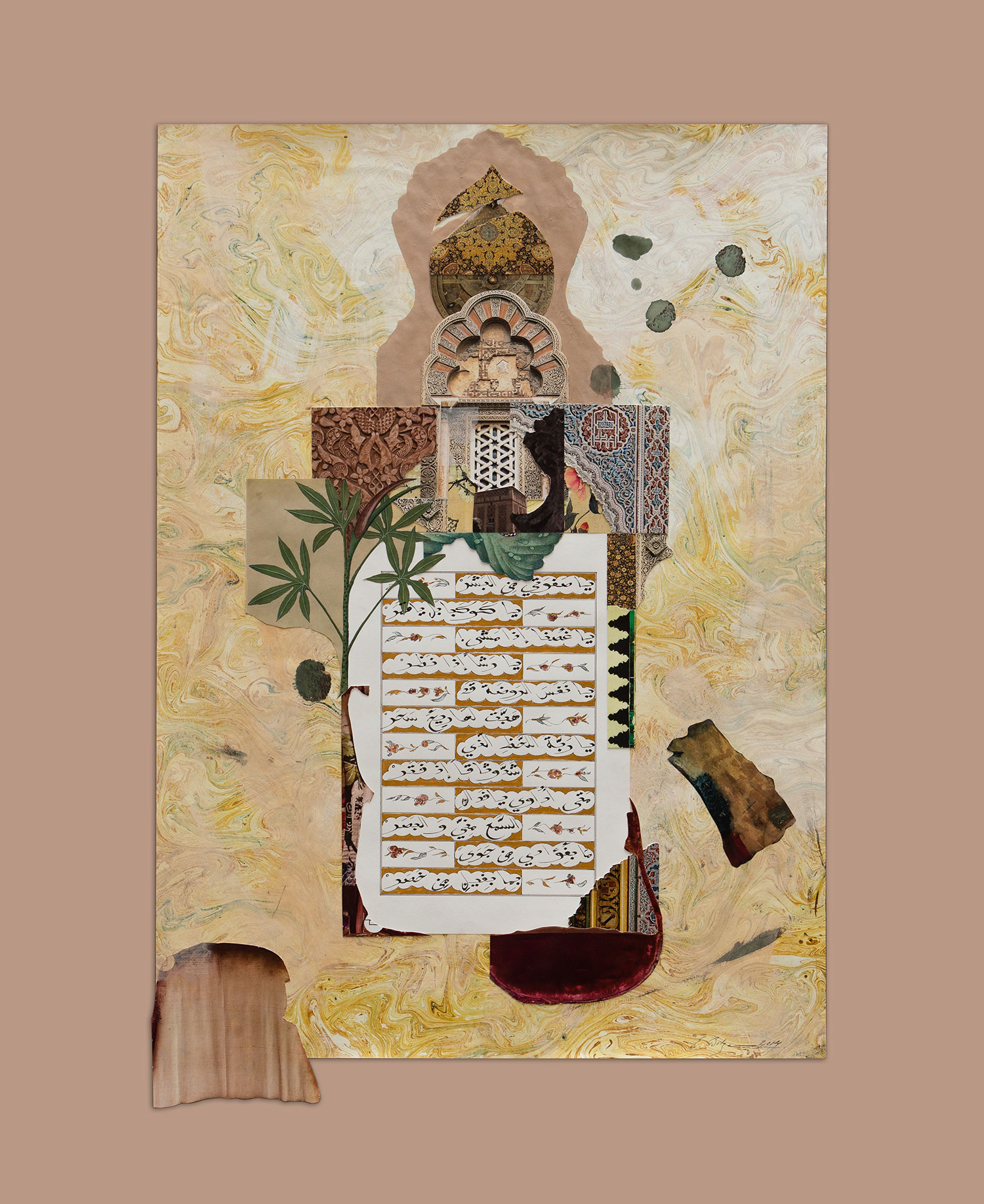 The Beloved (Reflections on The Poet King)  Paper, Iranian ink, gold, watercolour, gesso and tempera on hand dyed and painted paper 101 x 81.5 cm 2014