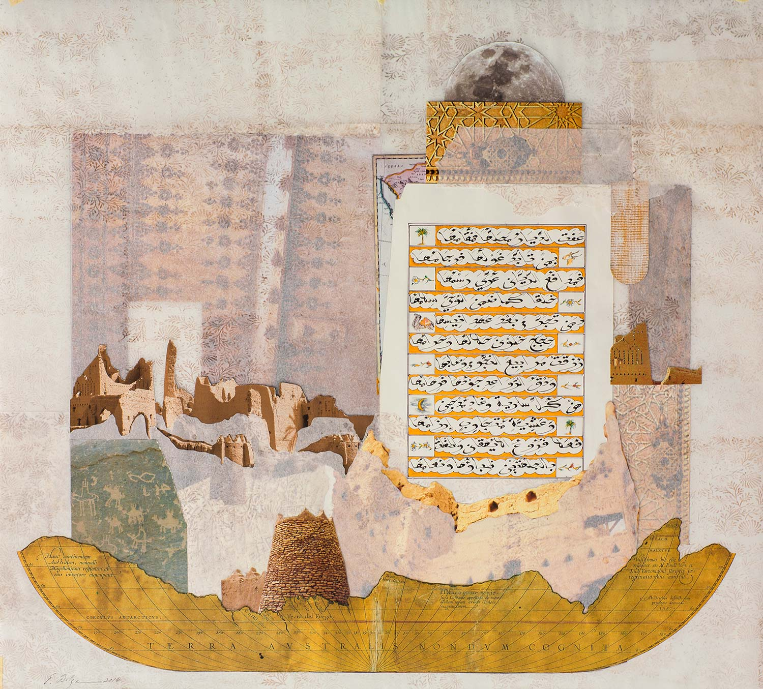 The Golden Ode I  Paper, Iranian ink, watercolour and gold on hand treated pergaminata paper w 94 x h 86.5 x 4.8 cm 2014