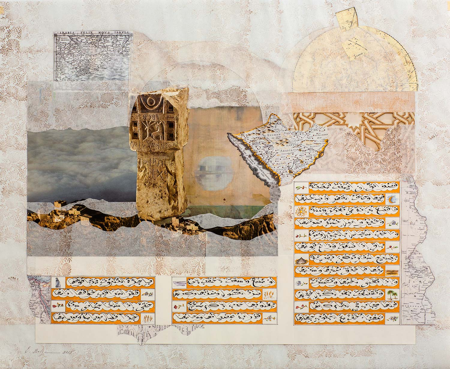 The Golden Ode IV  Paper, Iranian ink, watercolour and gold on hand treated pergaminata paper w 94 x h 81 x 4.8 cm 2015