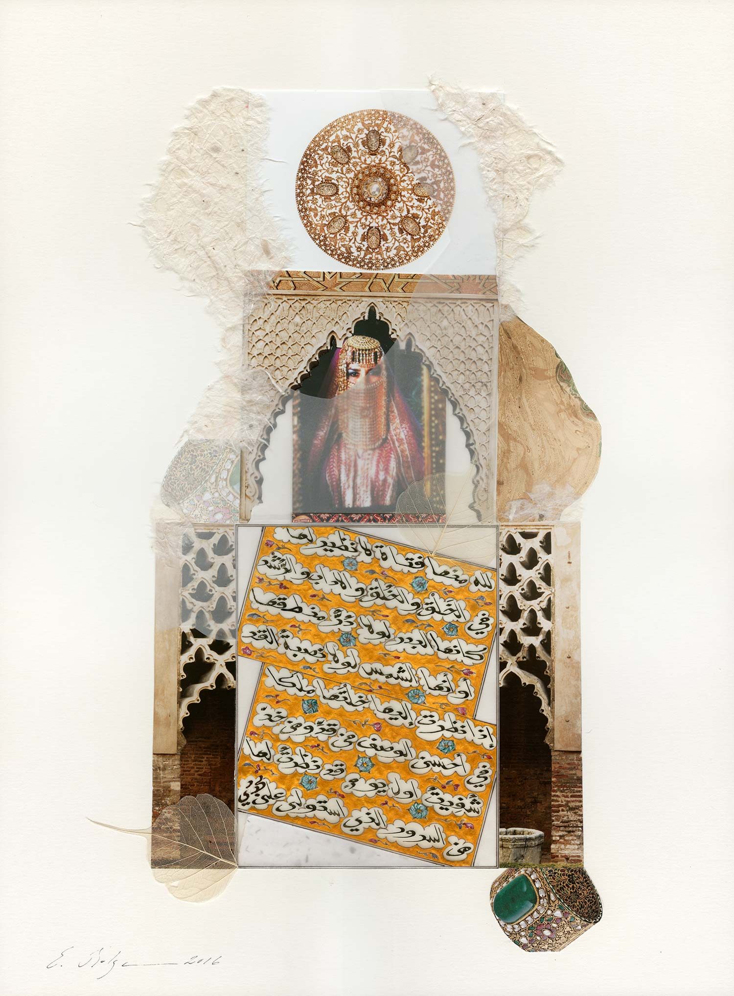 Bride  Private Collection Medina, Kingdom of Saudi Arabia Paper, Indian ink, watercolour,gold,dried leaf and gesso on solid mount board base 40 x 54 cm 2016