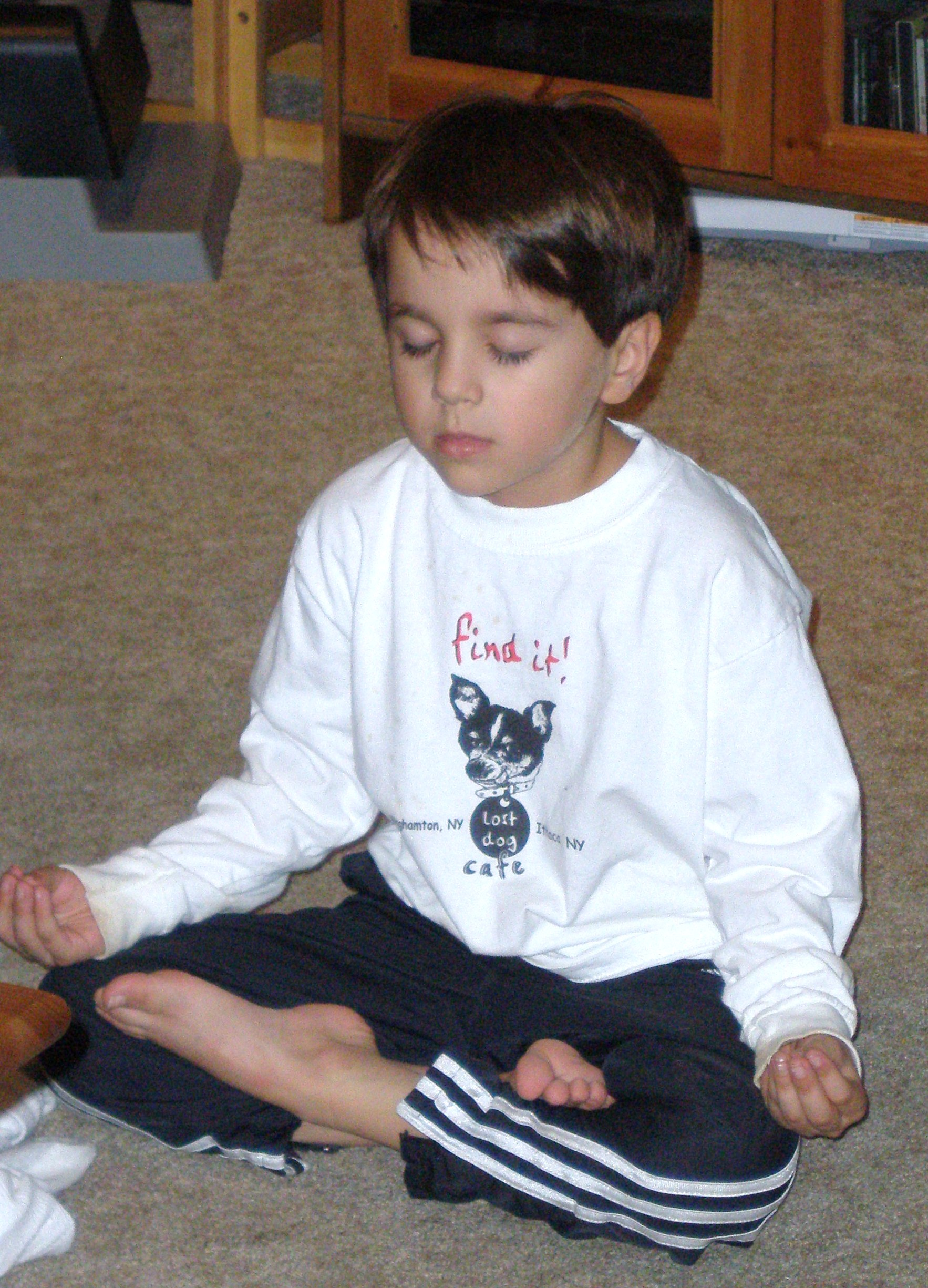 My son's attempt at lotus pose, age 7.