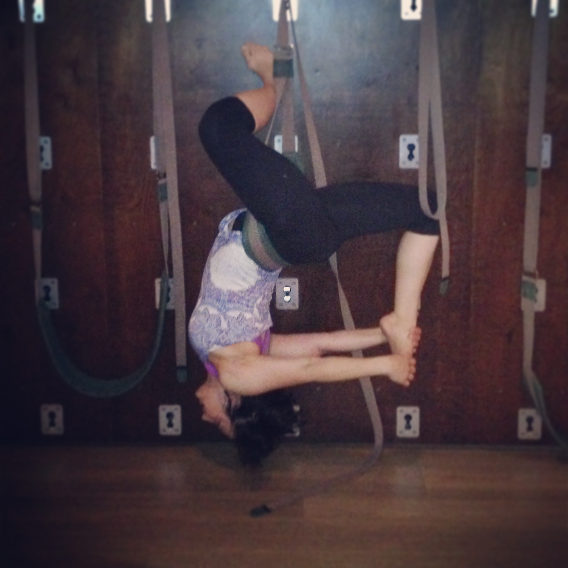 The Yoga Rope Wall offers length during inverted backbends.