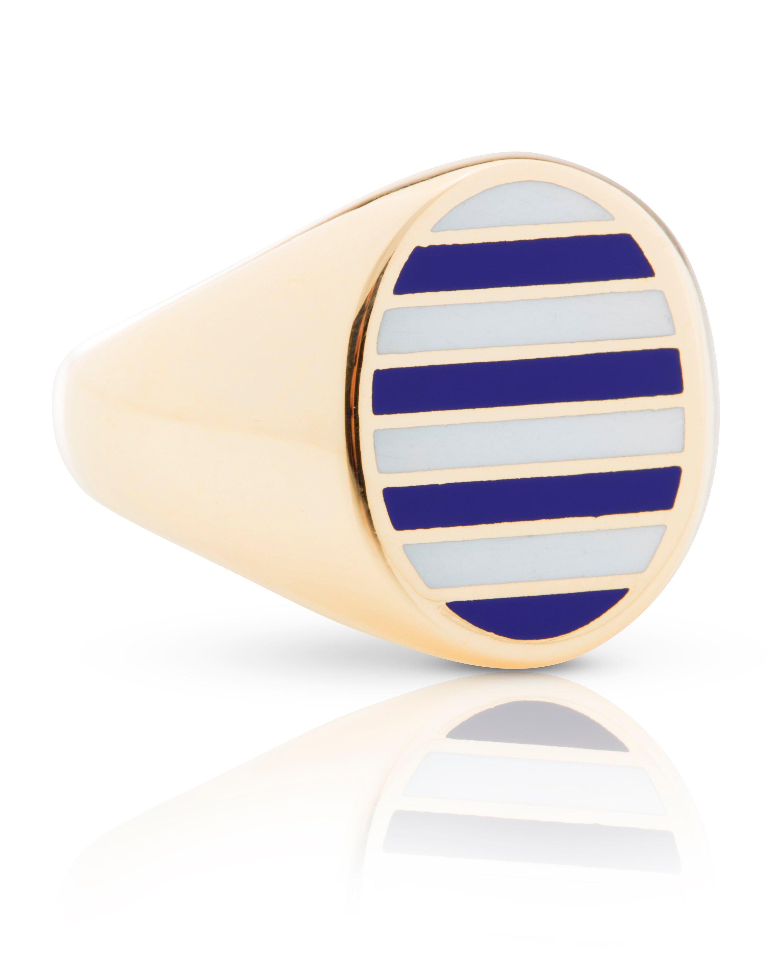 CLASSIC STRIPE SIGNET RING