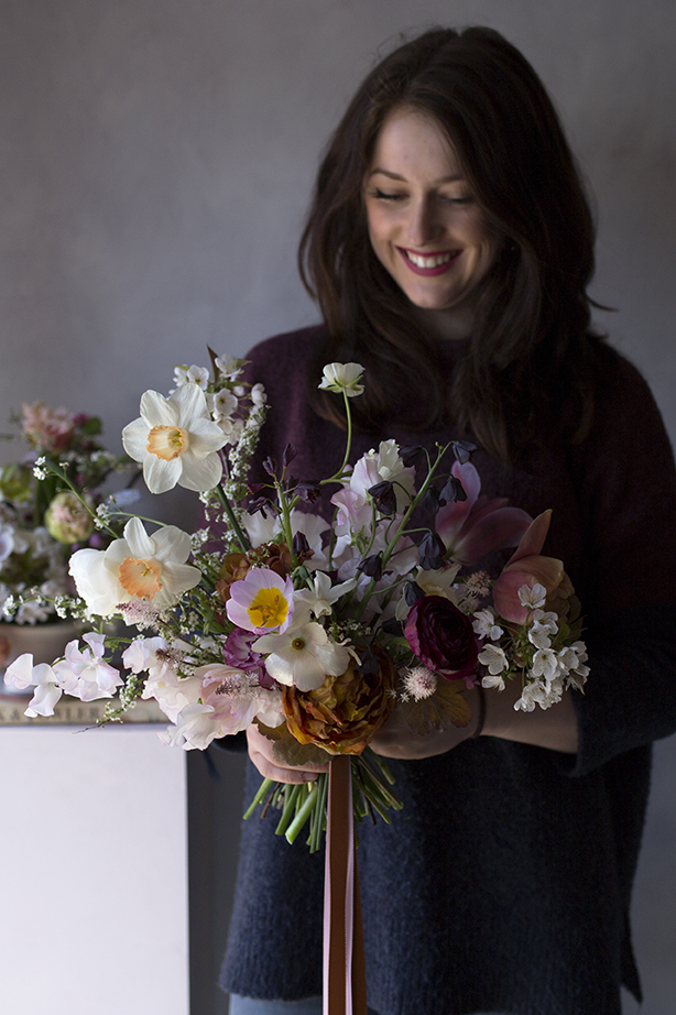 Hannah's bouquet - an almost black Fritillaria persica, layered with Tulip 'Brownie', cherry blossom and wine-red ranunculus.