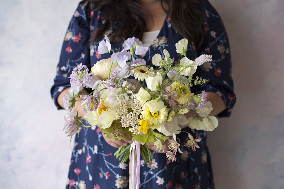 Samantha's bouquet - a collision of spring and early summer flowers - Clare de Lune peonies, yarrow, calendula, Fritillaria meleagris, clematis and alliums.