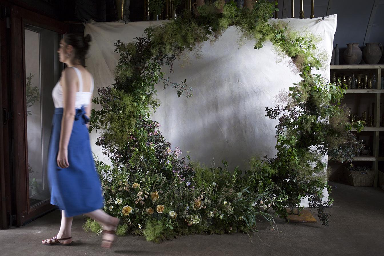 A group effort: free-standing circular installation of smokebush, rubrifolia, roses, foxgloves and lysimachia.