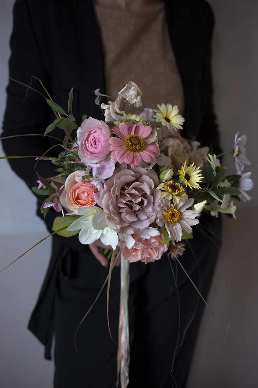 Kat's bouquet contained Rose 'Koko Loko', dahlias, zinnia, caledula, cosmos, sweet peas and tobacco flower.
