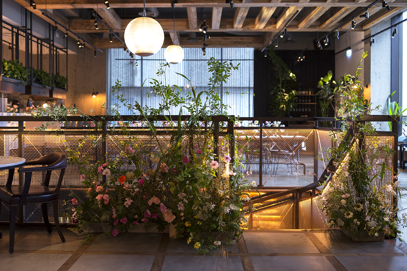 A garden-inspired installation to the staircase at The Kitty Hawk in the City of London, all of the materials were grown and foraged in Hampshire.