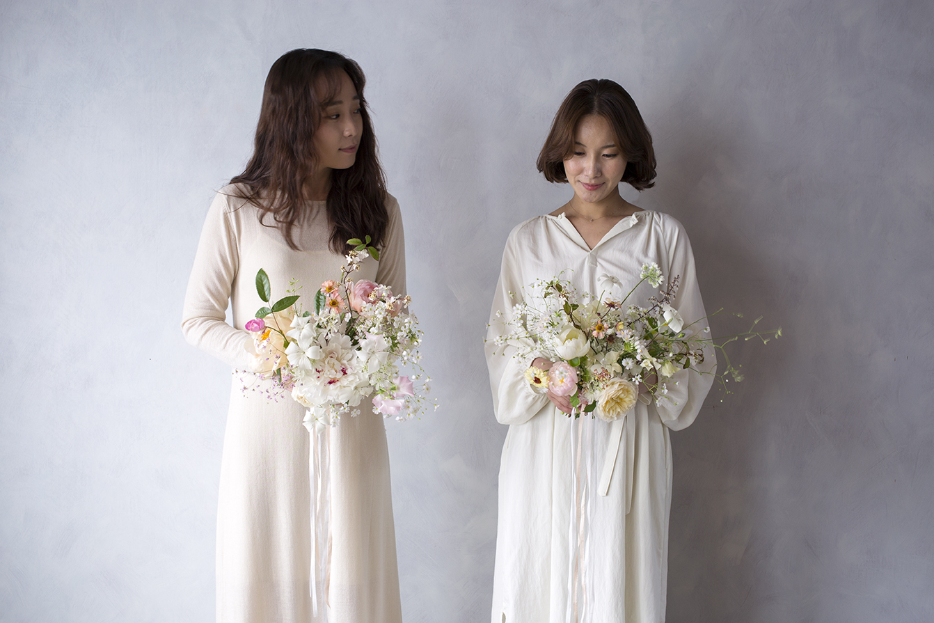 Seo Hee Kim & Se Hee Lee from Seoul with their delicately created spring bouquets during a private class