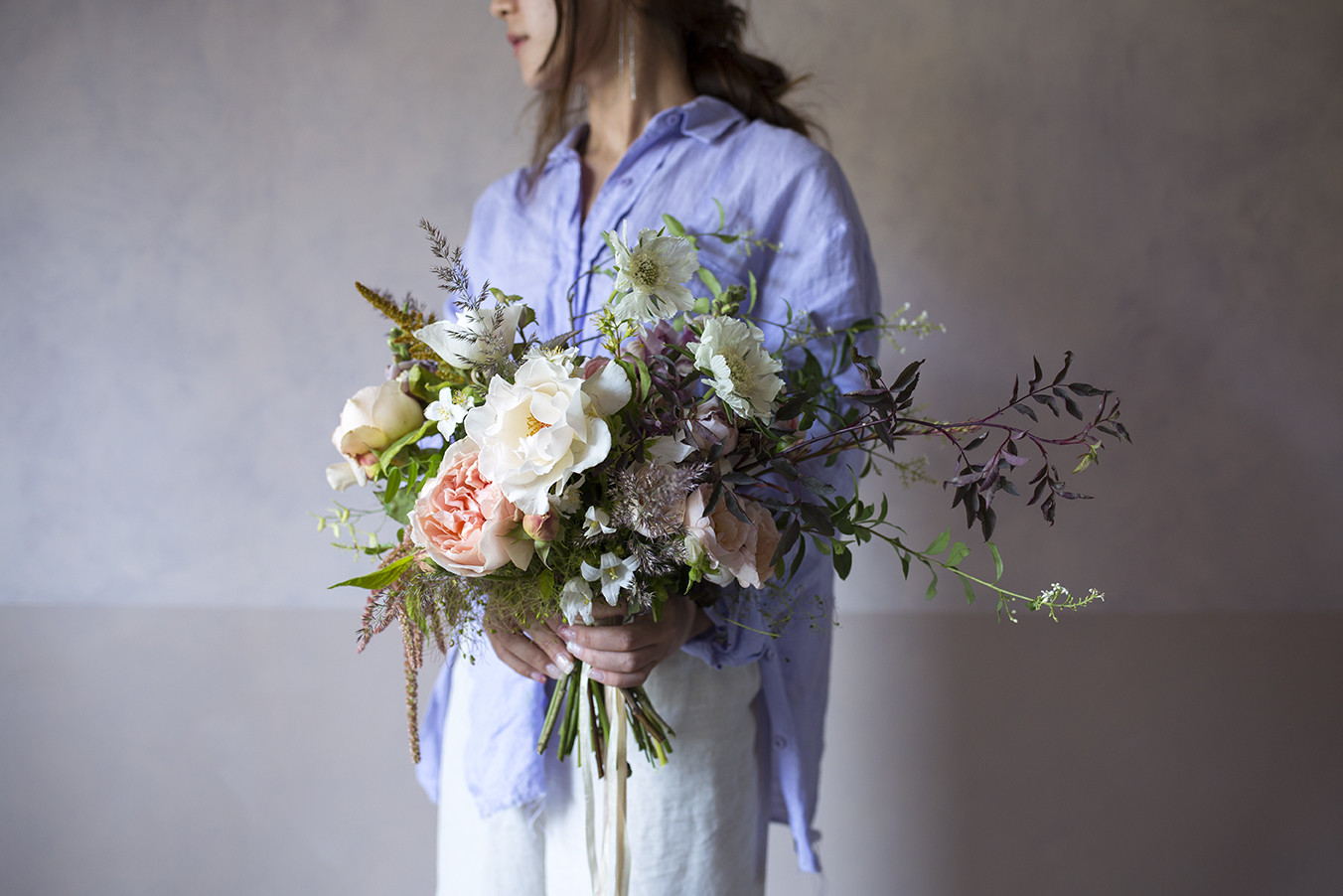 A summer wedding bouquet made by a student at a group workshop at Aesme Flower Studio