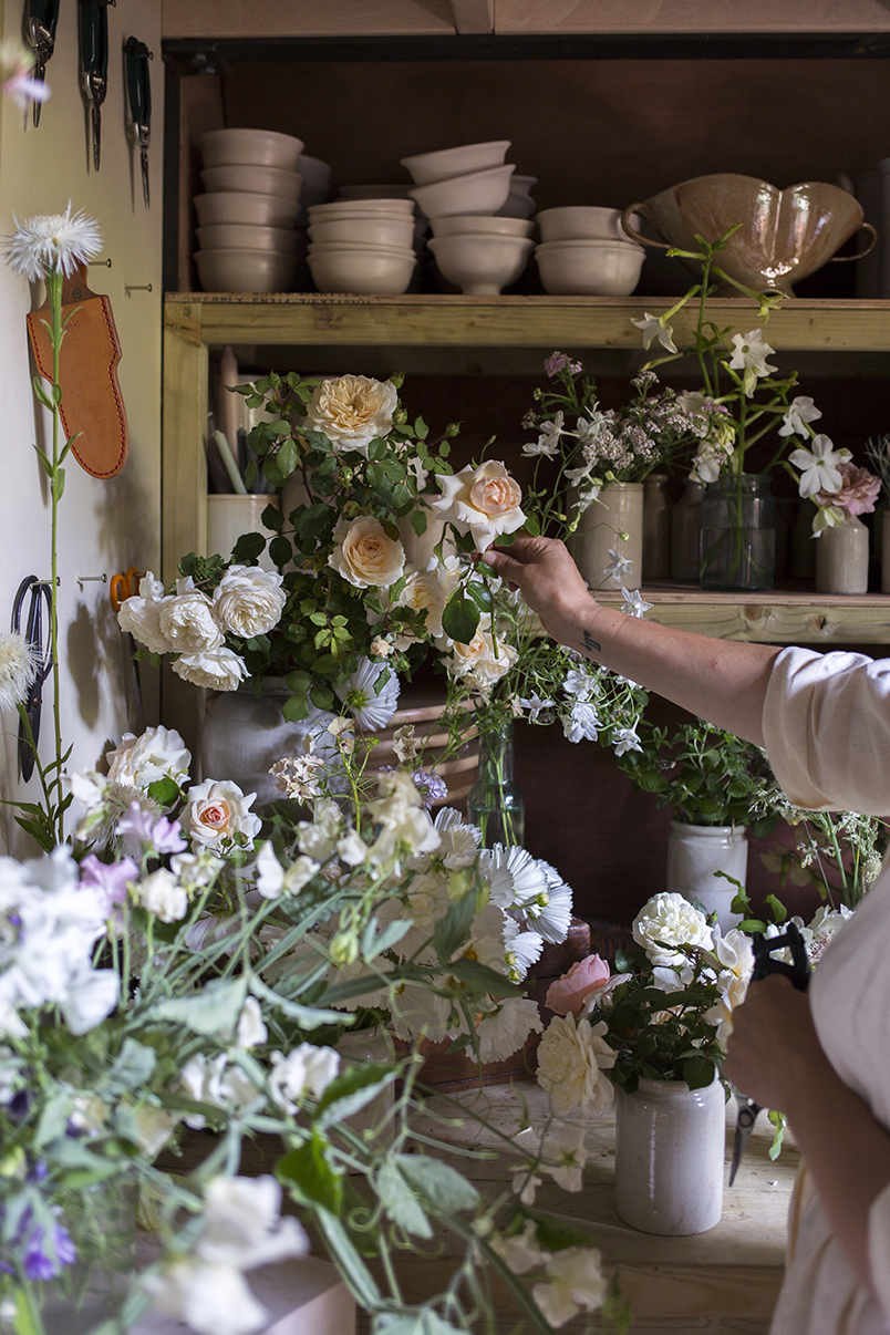 In July the studio is filled with beautiful freshly-cut bounty from the garden - old-fashioned garden roses, sweet peas cut long on the vine, cosmos, tobacco flowers, cornflowers and phlox